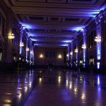Eerie lighted hallway at Union Station that had staticky old swing record playing. Magical!